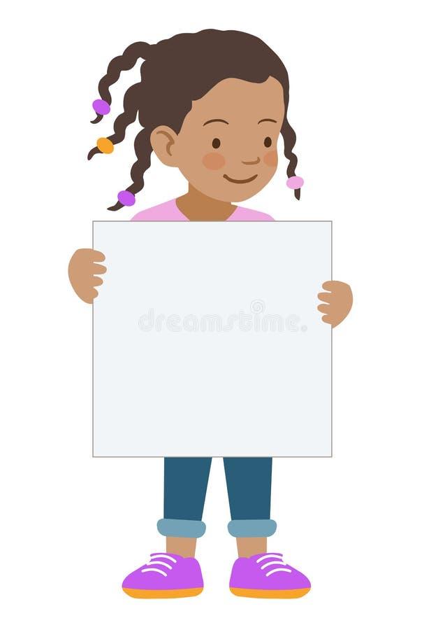 拿着空白的标志模板的小女孩 向量例证