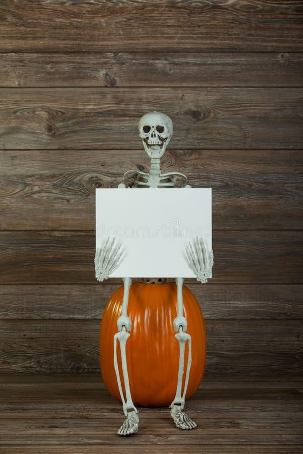 拿着空白的标志的万圣夜骨骼 库存照片