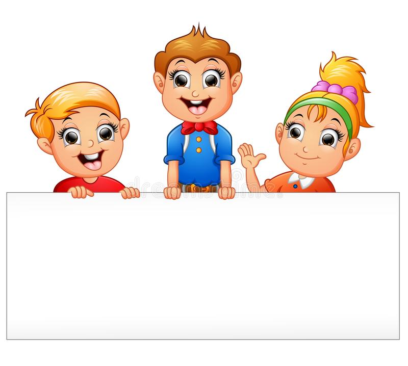 拿着空白的标志的愉快的孩子动画片 向量例证