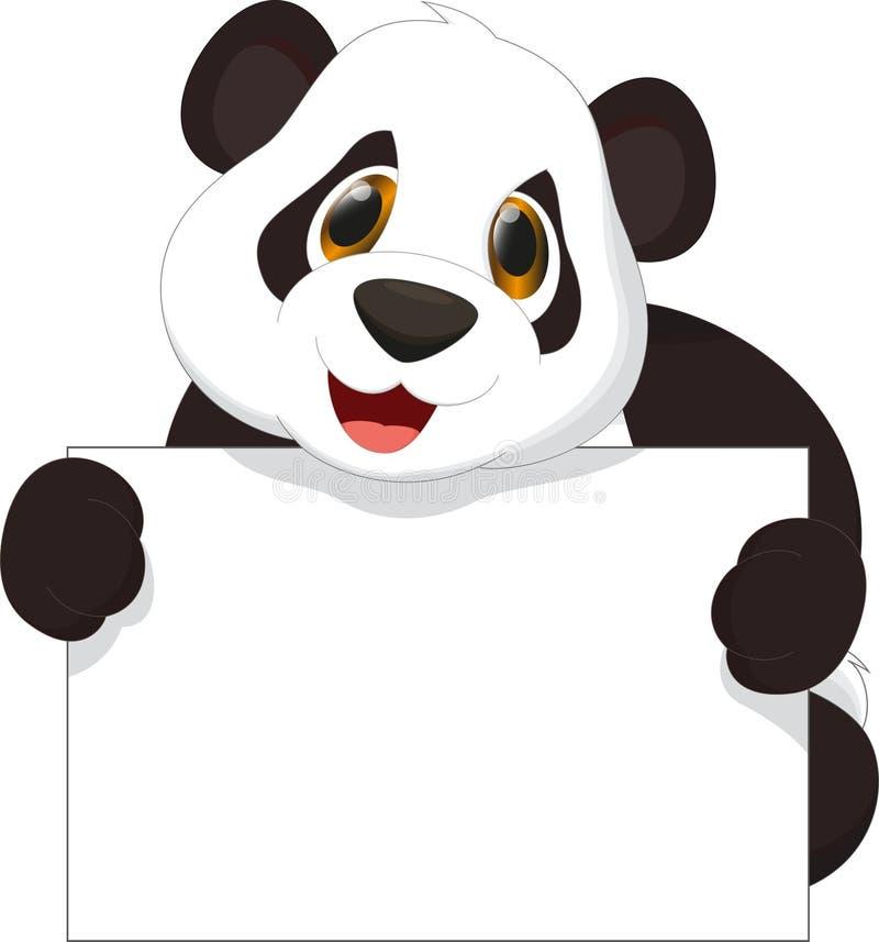 拿着空白的标志的逗人喜爱的熊猫动画片 库存例证