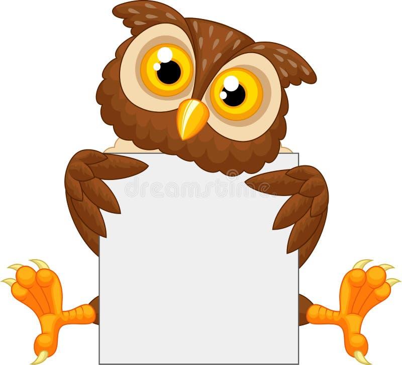 拿着空白的标志的逗人喜爱的猫头鹰动画片 皇族释放例证