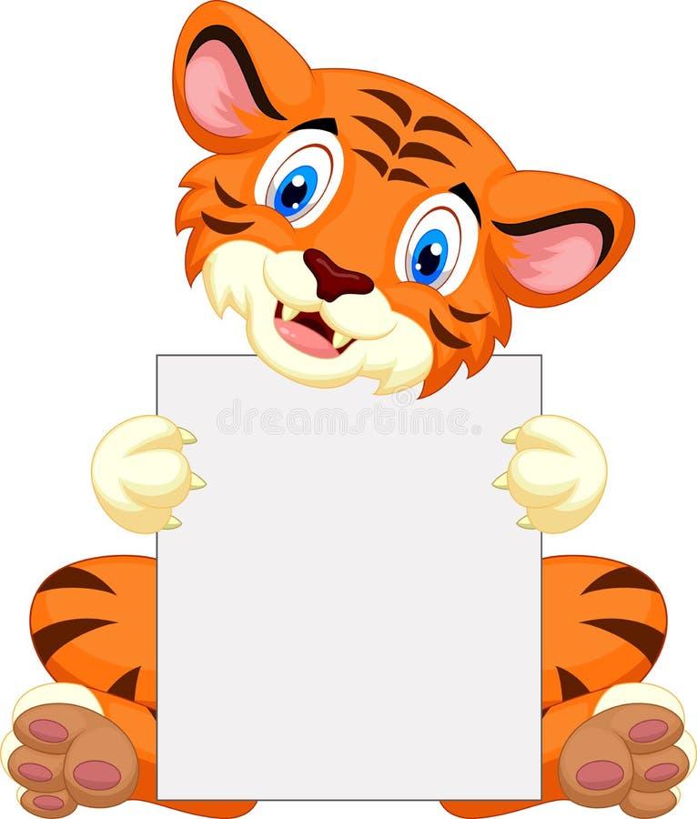 拿着空白的标志的逗人喜爱的老虎动画片 库存例证