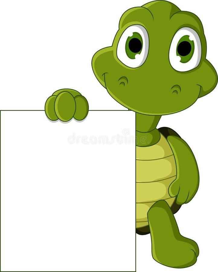 拿着空白的标志的逗人喜爱的绿海龟动画片 库存例证