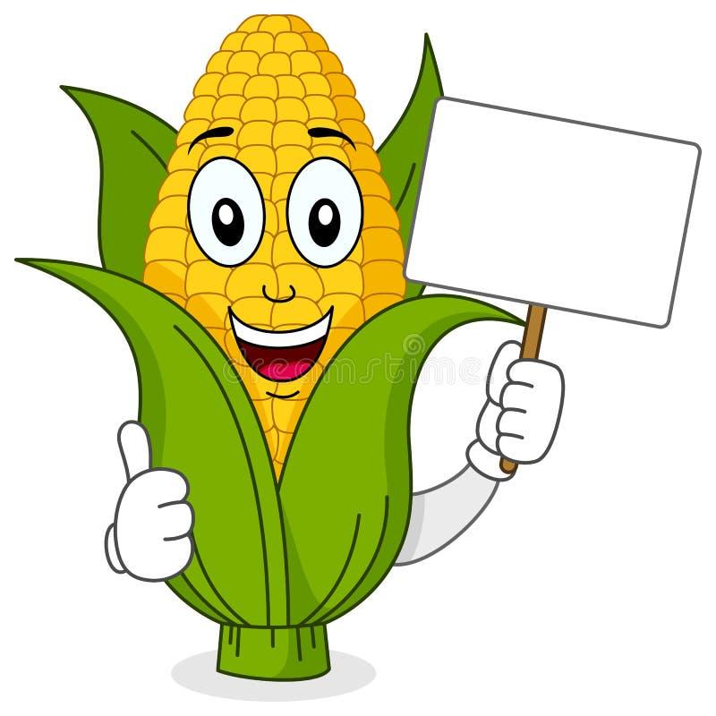 拿着空白的横幅的玉米棒子字符 向量例证