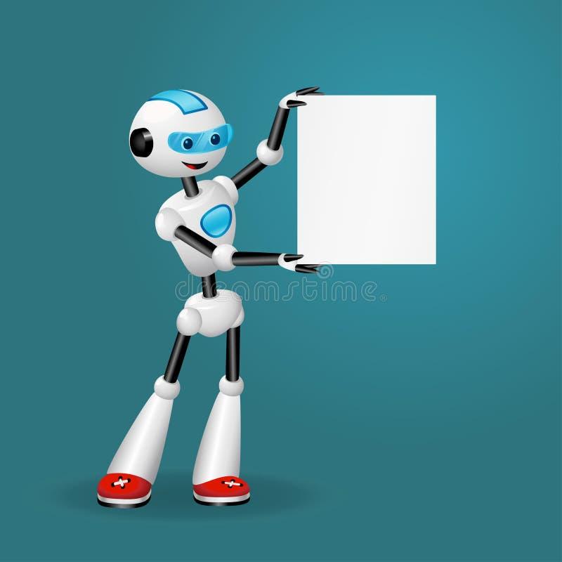 拿着空白的纸片文本的逗人喜爱的机器人在蓝色背景 库存例证