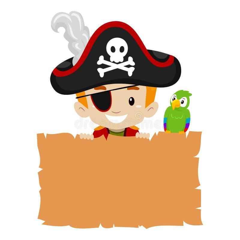 拿着空白的纸莎草的海盗孩子 向量例证