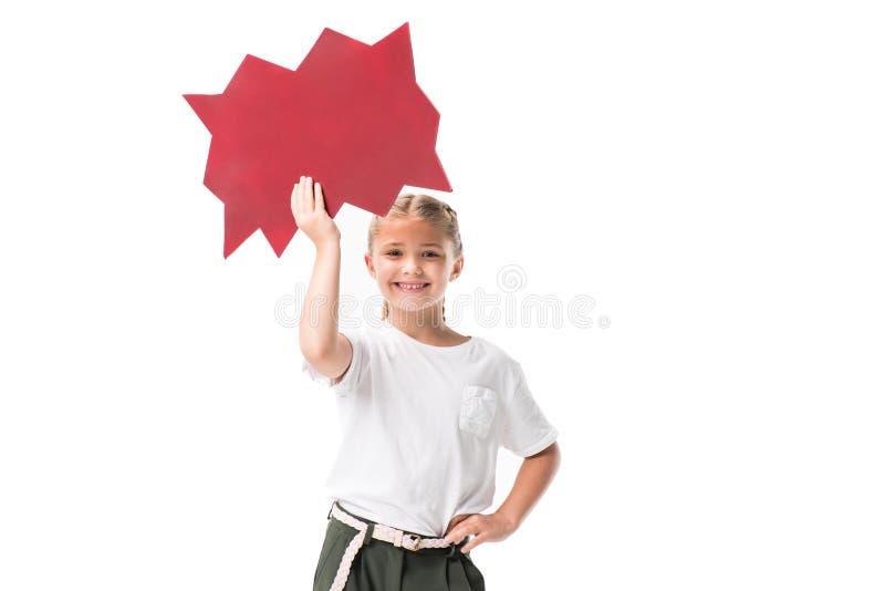 拿着空白的讲话泡影的快乐的白肤金发的女孩 免版税库存图片