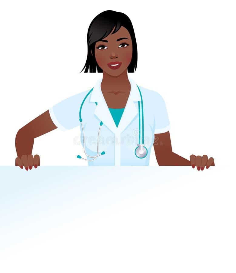 拿着空白的医疗制服的非裔美国人的妇女医生 库存例证