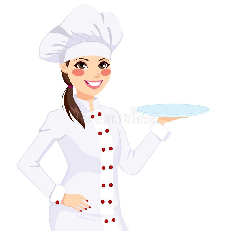 拿着空的板材的女性厨师 皇族释放例证