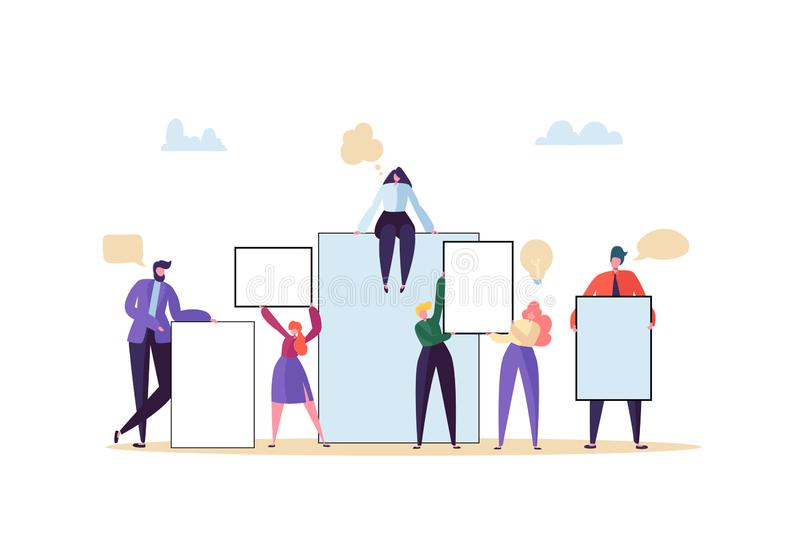 拿着空的横幅的企业队 有空白的广告牌的愉快的人 配合广告概念介绍 库存例证