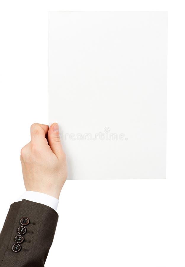 拿着空的纸的商人 免版税库存图片