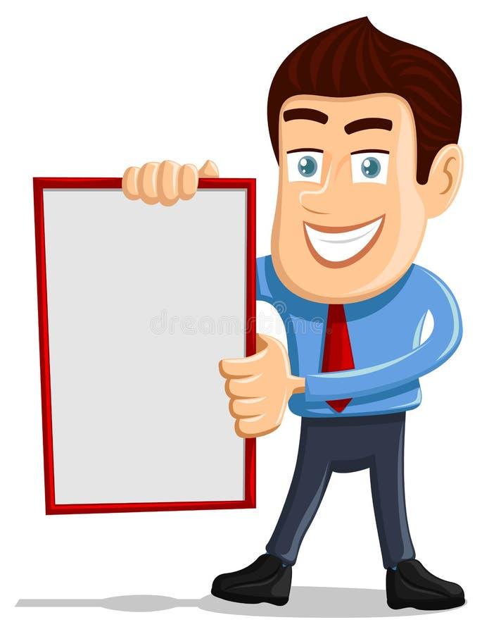 拿着空的董事会的销售人员 库存例证