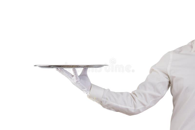拿着空的银色盘子的侍者 免版税库存照片