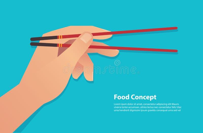 拿着筷子传染媒介例证eps10的手 皇族释放例证