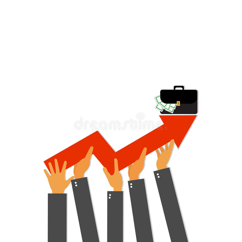 拿着箭头的商人上升  企业图形增长人 向量例证