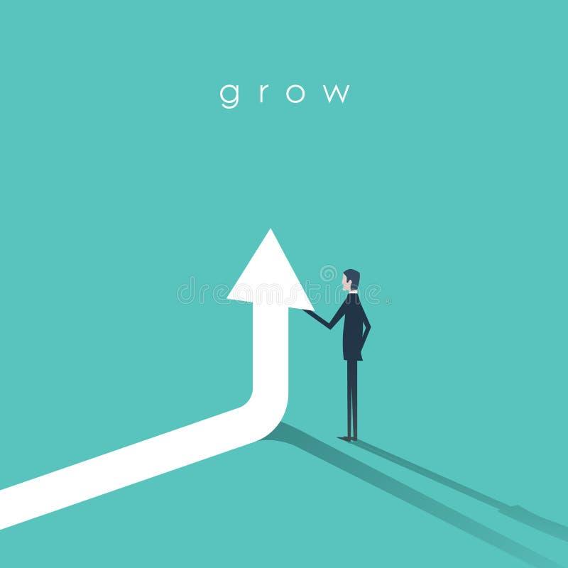 拿着箭头的商人去传染媒介标志 成长、成功和成就的企业概念 库存例证