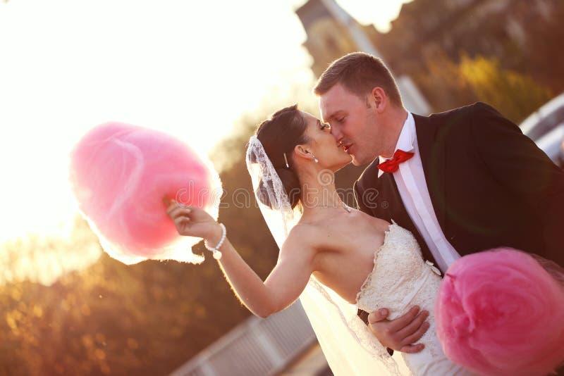 拿着糖果绣花丝绒的新娘和新郎 免版税库存照片