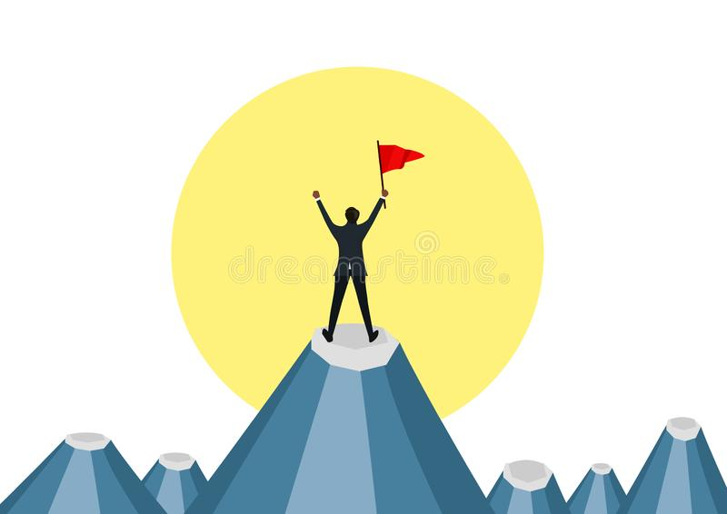 拿着红旗和站立在moutain的上面的商人在太阳下 以图例解释者 向量例证