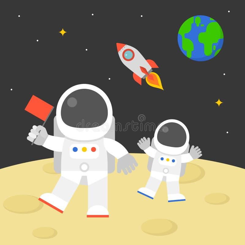 拿着红旗的宇航员走与飞行火箭的月亮表面上在空间和地球地球背景中 向量例证