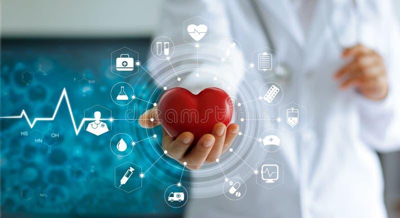 拿着红色心脏形状和象医疗网络的医学医生 免版税库存照片