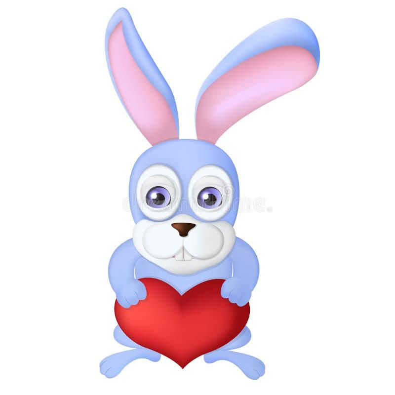 拿着红色心脏气球的动画片兔子 野兔与 库存照片