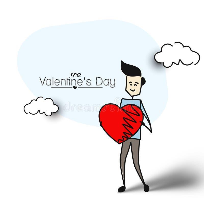 拿着红色心脏,平的设计的友好的人 手拉的动画片 皇族释放例证