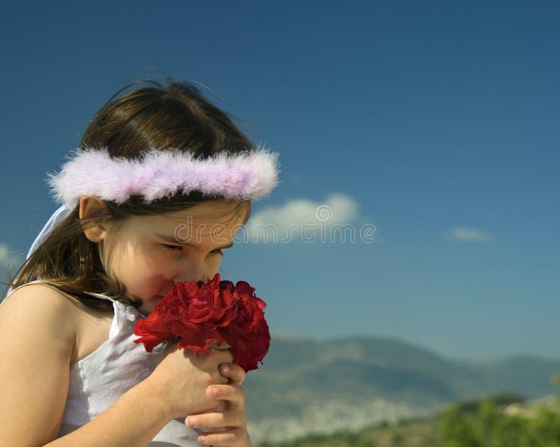 拿着红色玫瑰的女孩 库存照片