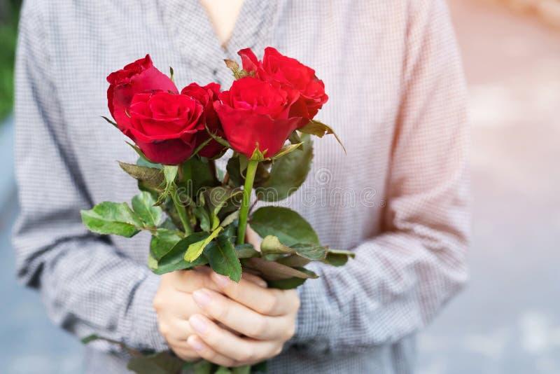 拿着红色玫瑰色花自然美丽的花的年轻女人两手 免版税库存图片