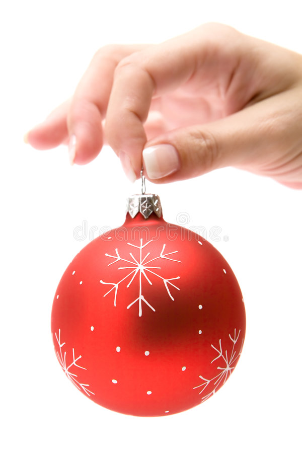 拿着红色结构树的球圣诞节 图库摄影