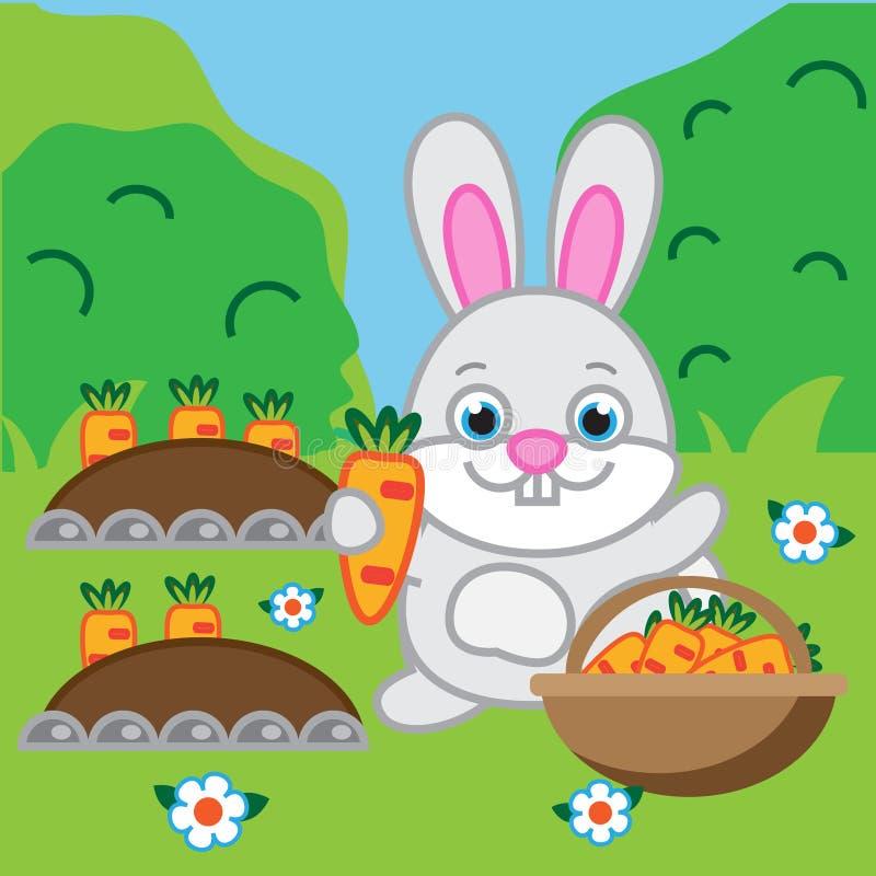 拿着红萝卜的兔子 野兔,兔宝宝在庭院里 向量例证