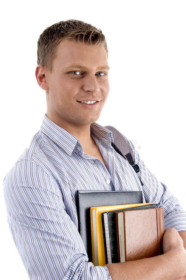 拿着纵向学员的书 库存照片