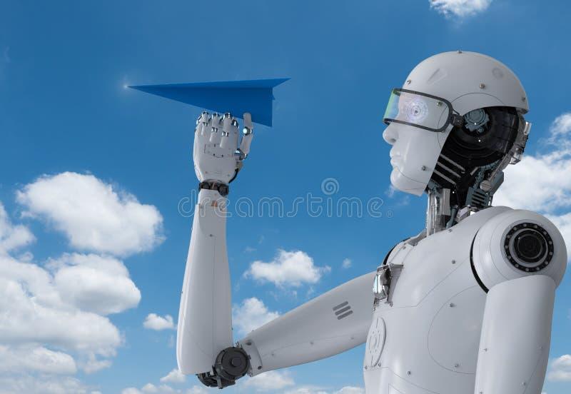 拿着纸飞机的机器人 库存例证