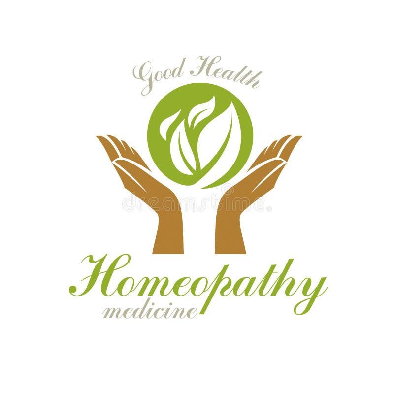拿着绿色春天叶子的关心的手 健康中心摘要现代象征用于医疗 向量例证