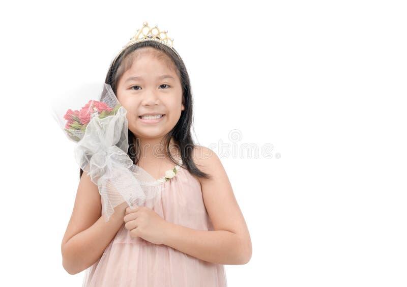拿着罗斯花束的亚裔女孩被隔绝 库存图片