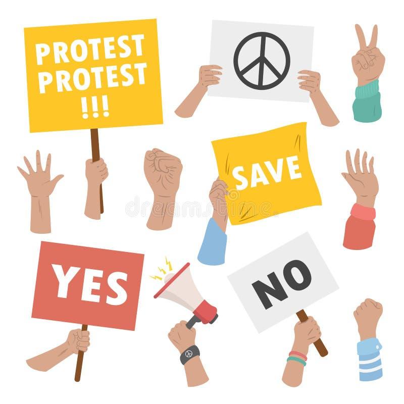 拿着罢工和显示抗议标志的人手 向量例证