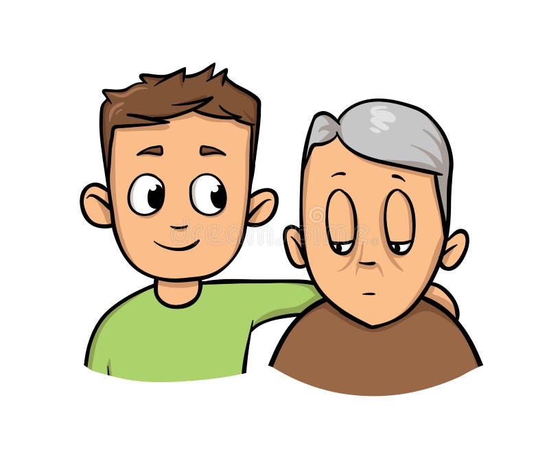 拿着老人的年轻人 社会工作者帮助的更老的灰发的人 平的传染媒介例证 查出在白色 皇族释放例证