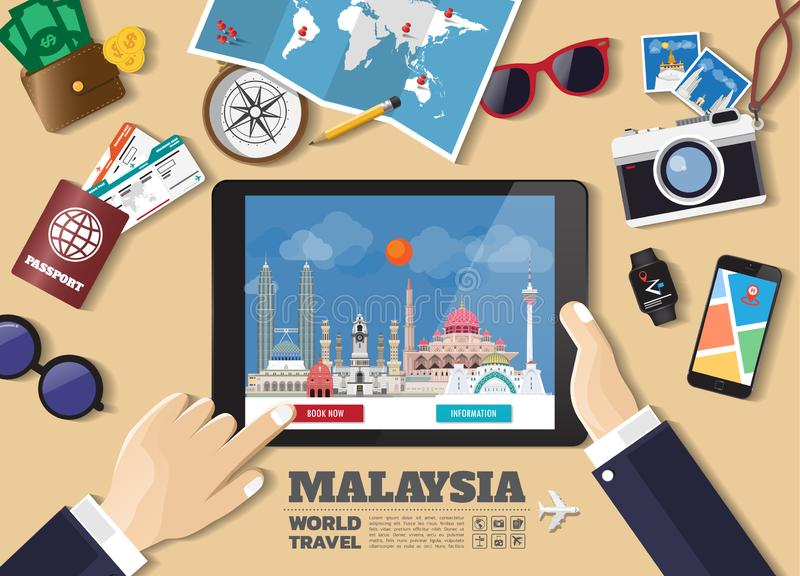 拿着聪明的片剂售票旅行目的地的手 马来西亚著名地方 传染媒介在平的样式的概念横幅与套  向量例证