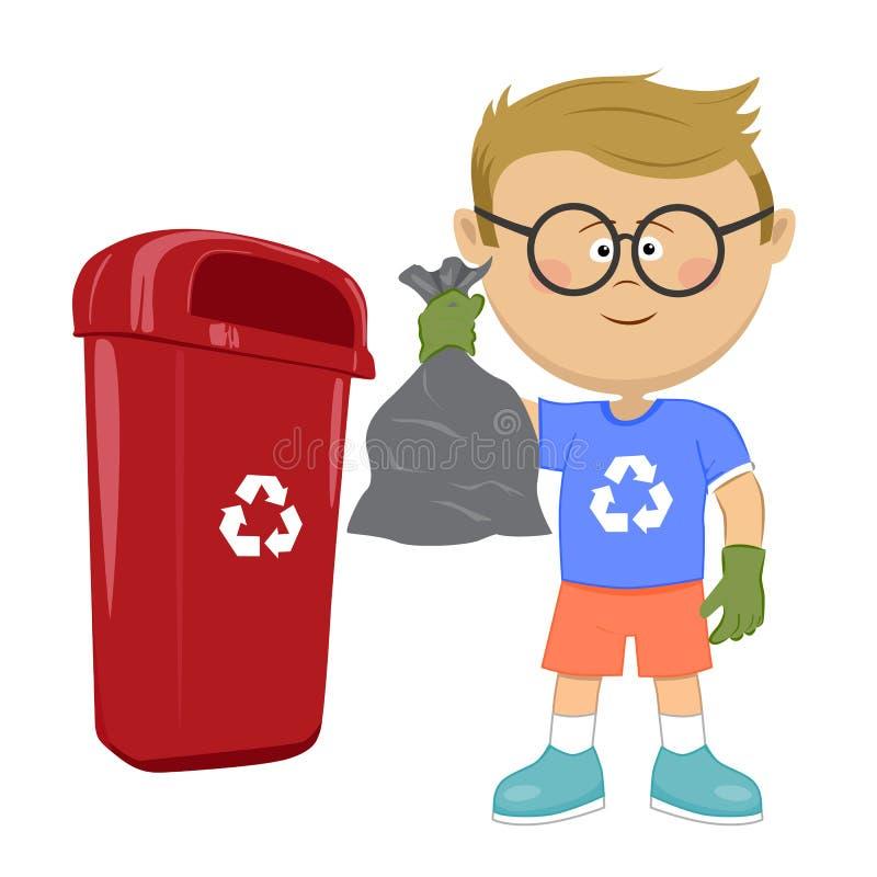 拿着腐败的垃圾袋和投掷它的小男孩回收站 库存例证