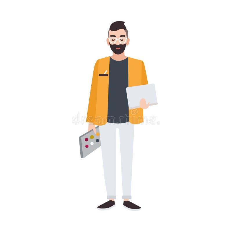 拿着色板显示和膝上型计算机的图表、网或者室内设计师或创造性的工作者 微笑的男性漫画人物 库存例证