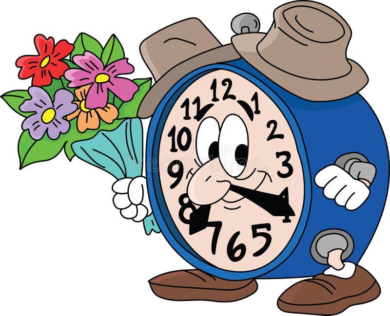 拿着花束的动画片时钟去在与他的女朋友传染媒介的一个日期 向量例证