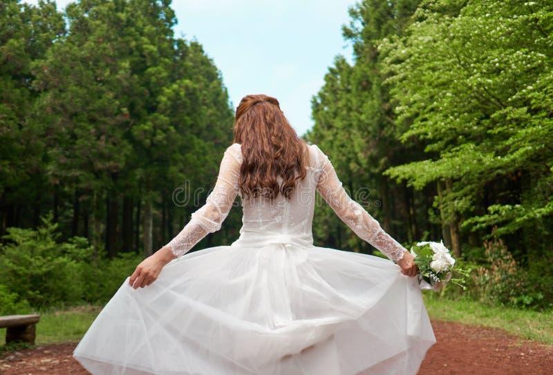 拿着花束的白色礼服的妇女在森林里 库存照片