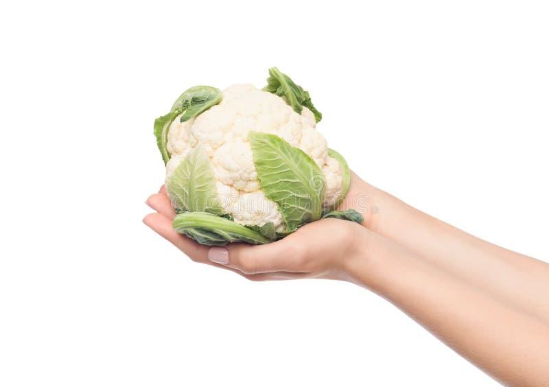 拿着花椰菜头的妇女被隔绝在白色 免版税库存图片