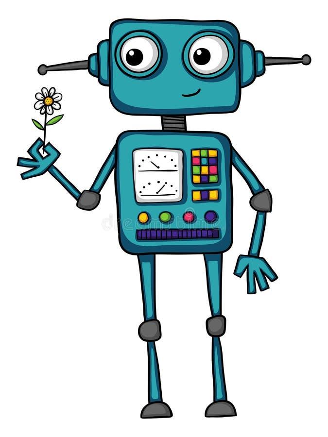 拿着花的逗人喜爱的动画片机器人 向量例证
