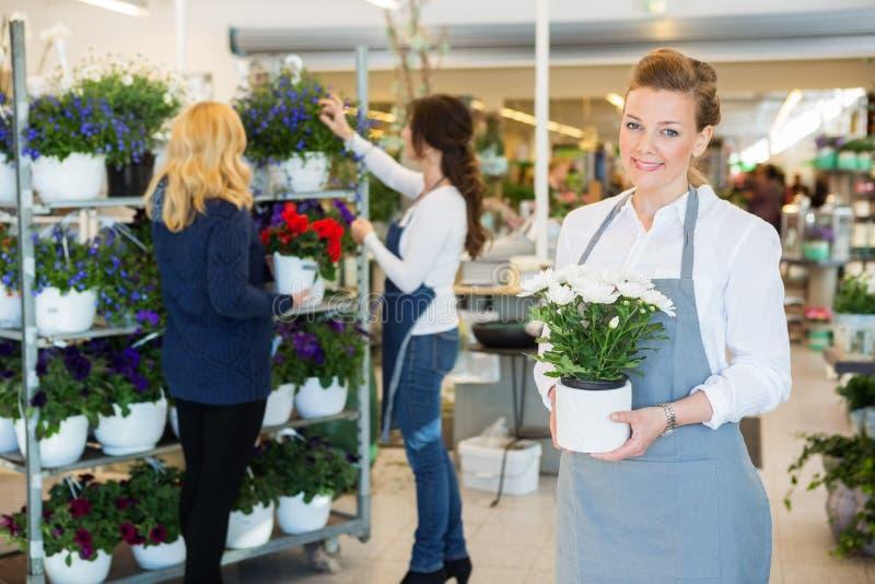 拿着花盆的愉快的卖花人在商店 免版税库存图片