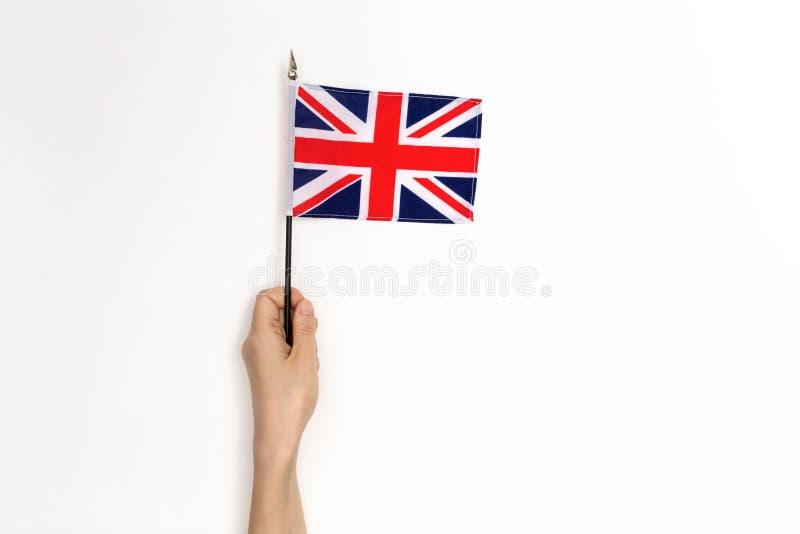 拿着英国旗子的人 图库摄影