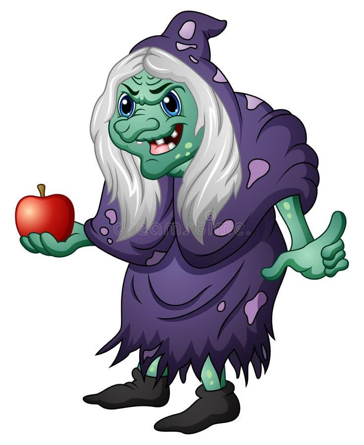 拿着苹果的老邪恶的巫婆 库存例证