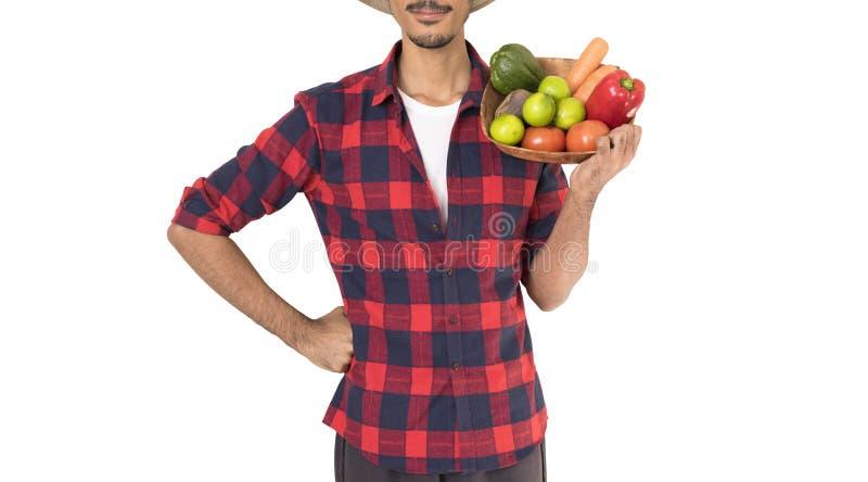拿着菜的篮子农夫的中央部位 库存照片