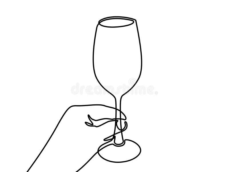 拿着葡萄酒杯的手 实线一图画 库存例证