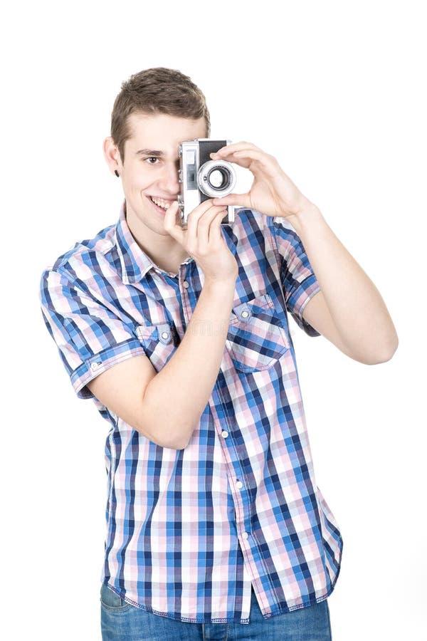 拿着葡萄酒照相机 免版税库存照片