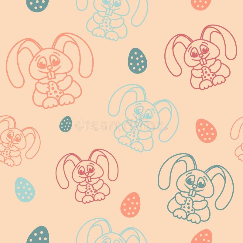拿着蛋轻淡优美的色彩的复活节无缝的样式兔子 皇族释放例证